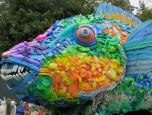 Ocean plastic art sculpture