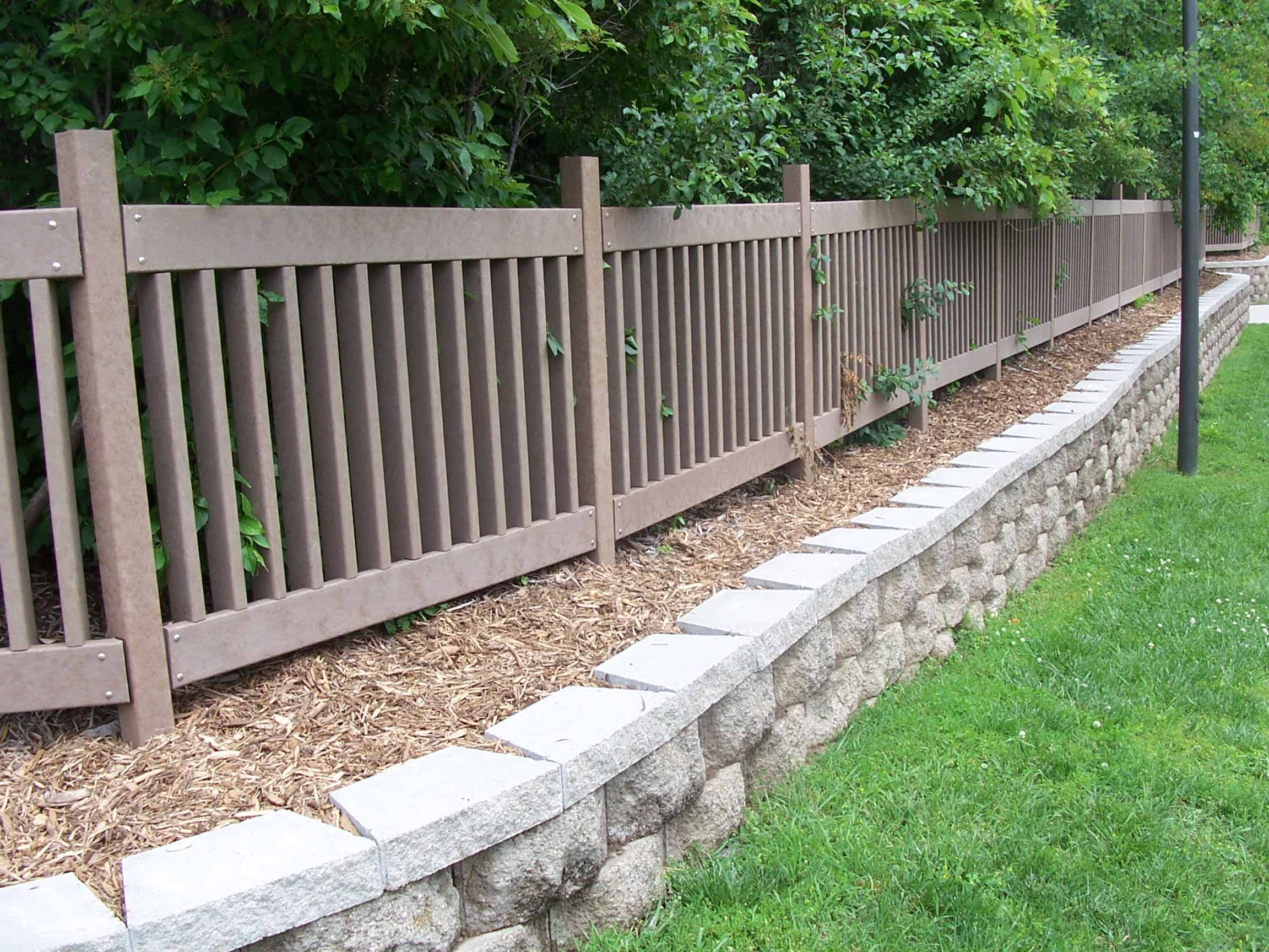 raised landscape fencing made with recycled plastic lumber