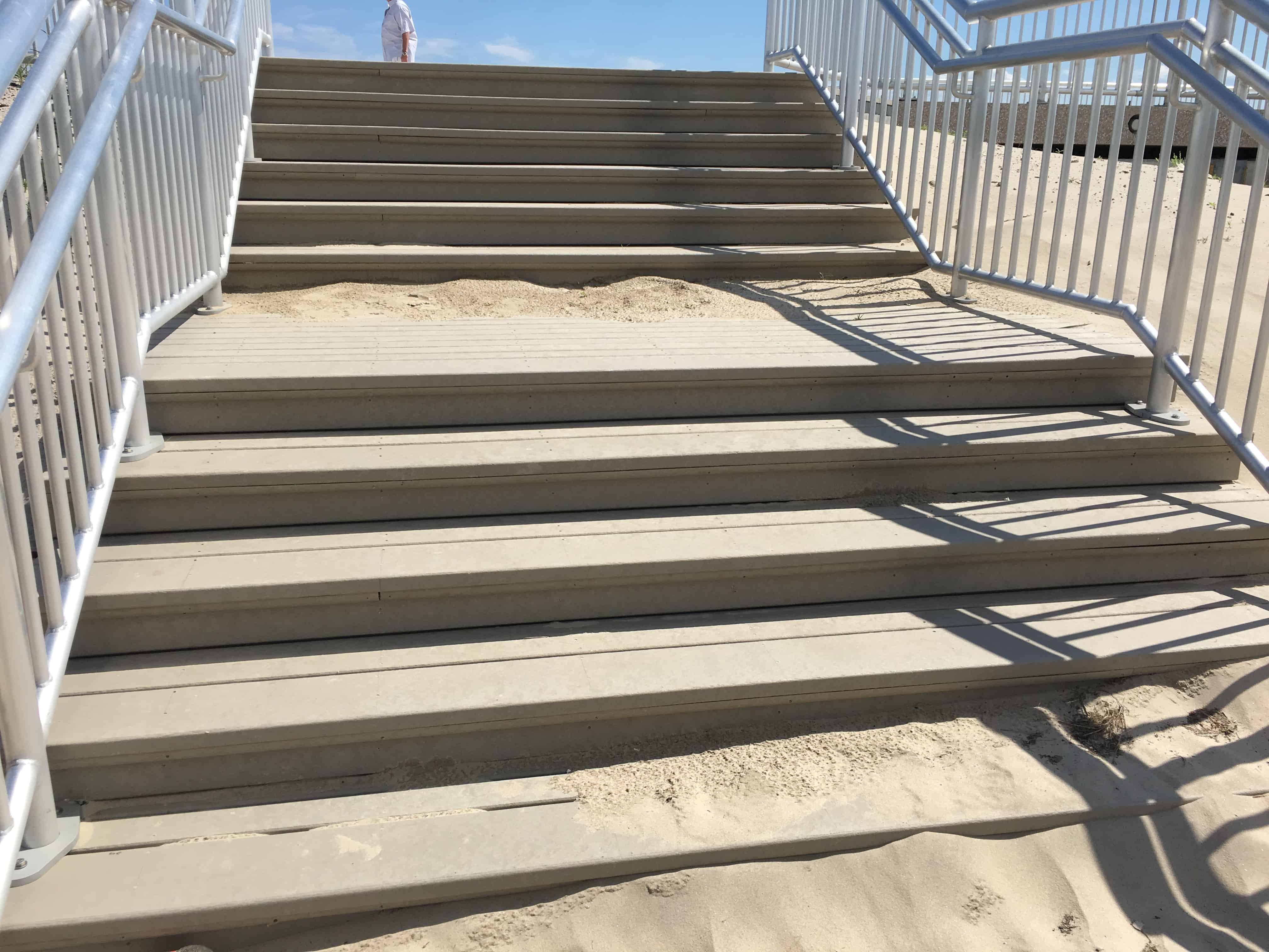 sandy stair steps made out of recycled plastic wood