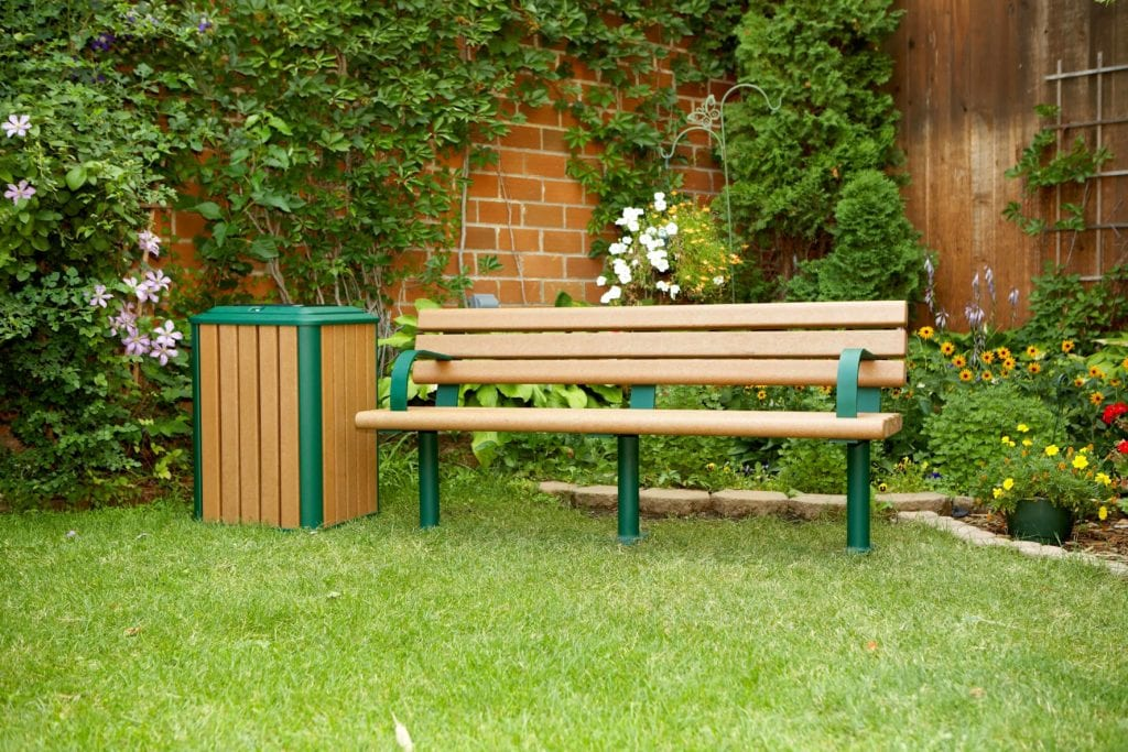 public bench and trash can made with recycled plastic lumber
