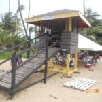 Lifeguard stand made out of recycled plastic lumber at the beach