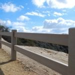 long view of split rail fence made with recycled plastic lumber
