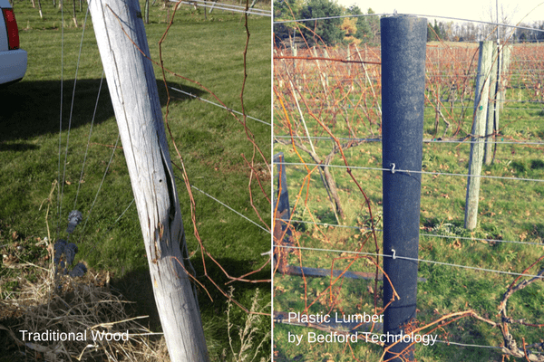 Traditional Wood vs Plastic Lumber in a Vineyard