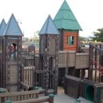 Chilrdens Playground made with plastic lumber support beams