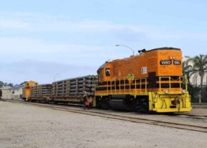 Rail cars deliver construction material to the Port of Hueneme