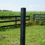 sample of fence post made from recycled plastic lumber