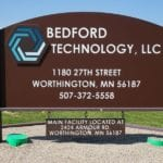 Bedford technology company sign in Worthington Minnesota, made with recycled plastic lumber