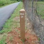 plastic recycle composite Mile Marker Sign on trail