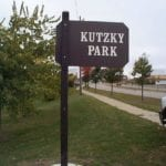 Kutzky park sign made with recycled plastic lumber