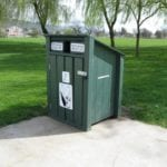 Public waste bin made with recycled plastic lumber