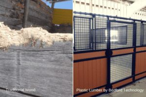 side by side comparison of wood versus plastic lumber in horse stalls
