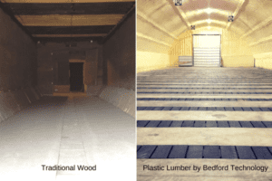 side by side comparison of wood and plastic lumber potato flumes