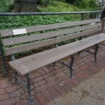 plastic wood bench at the lincoln park zoo in chicago