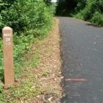 recycled plastic trail marker with mile engraving