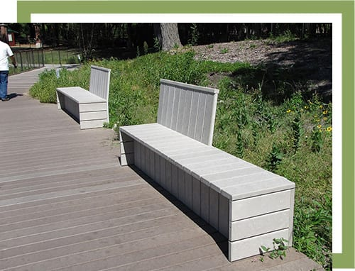 recycled plastic wood bench and boardwalk